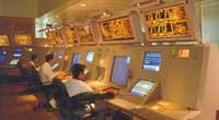 Photo of interior of Singapore Air Traffic Control Centre.