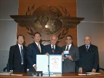 Photo of Singapore Aviation Academy (SAA) conferred the 34th ICAO Edward Warner Award.           Photo of Terminal 3 design map.