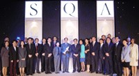 Photo of CAAS receiving the 2003 Singapore Quality Award (SQA) by SPRING Singapore.