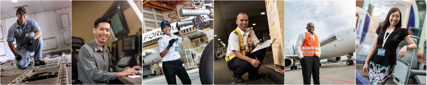 Collage of aviation professionals in their work environments